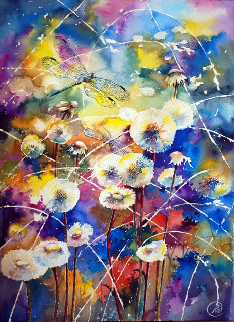 Dandelion wine - bright watercolor, dragonfly, light