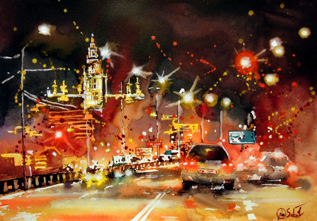 Krimskiy bridge - bright watercolor, cityscape, moscow, russian roads, night, lights, moscow university high-rise