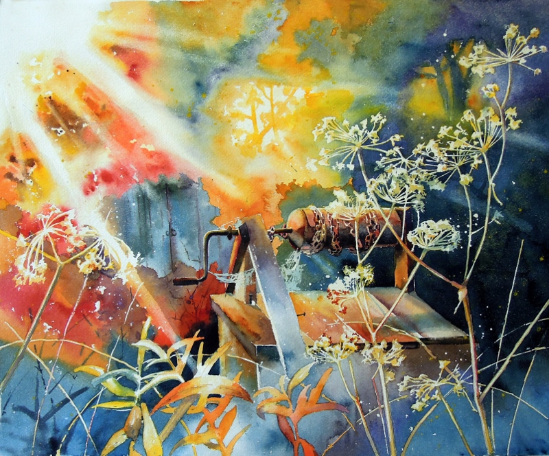 Frozen time - bright watercolor, landscape. sun, colorful