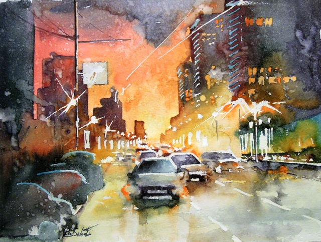 Noviy Arbat st., Moscow - bright watercolor, cityscape, russian streets, evening, lights, rain