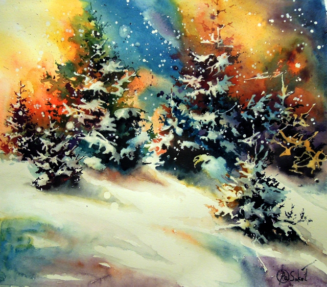 Christmas - bright watercolor painting sale light snow