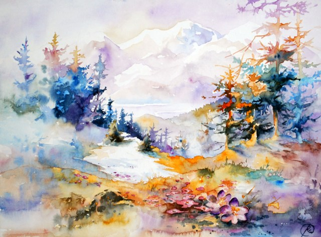 April - brightwatercolor landscape, panting, mountains, spring flowers