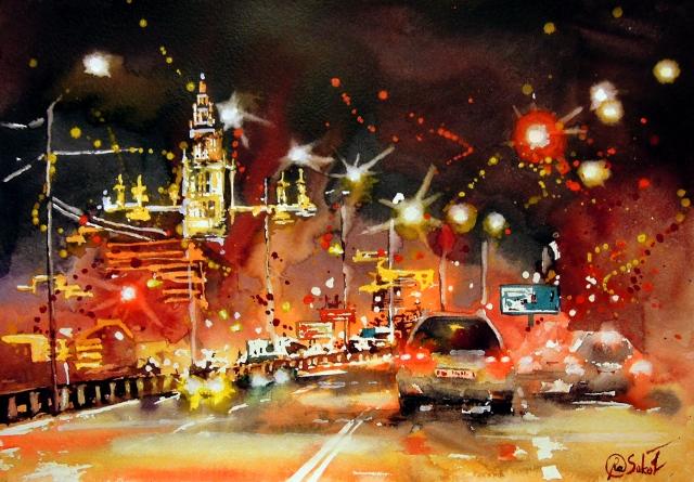 Крымский мост - дорога домой, анна соколова, яркая акварель, городской пейзаж, купить картину, живопись, подарок, ночная Москва