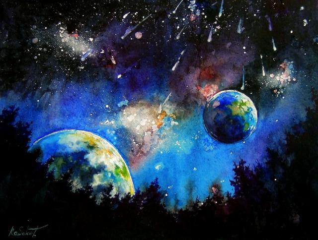 Кассиопея - яркая акварель купить, свет, звезды, небо, созвездия, ночной лес