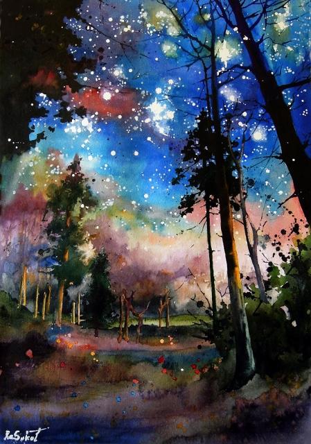 Лесные звезды - яркая акварель, анна соколова, ночной пейзаж, купить картину, живопись в интерьере, деревья, новый ракурс, мечты, волшебство