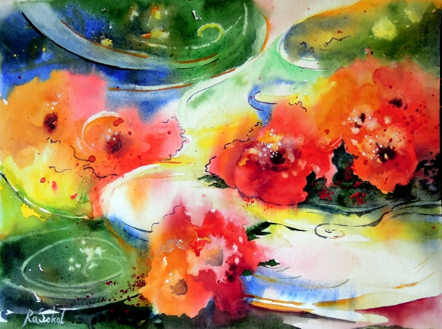 Фантазия - яркая красочная акварель, анна соколова, свет, купить картину, красные цветы, река, поток