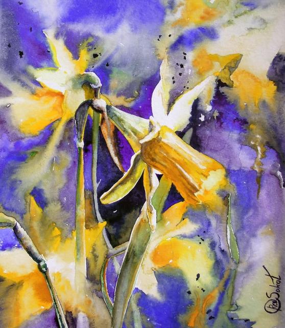 Нарциссы - яркая акварель, анна соколова, картина в интерьере, купить подарок, цветы, живопись, солнечный