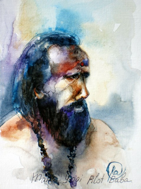 Maha Iogin Pilot Baba - bright watercolor portrait, enlightment