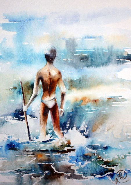Catcher - bright watercolor painting, ocean, fisherman