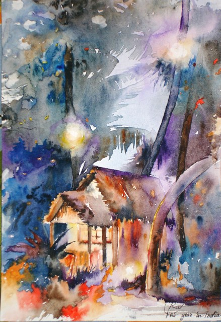 Indian New year - bright watercolor paintings, houses, palm trees, light