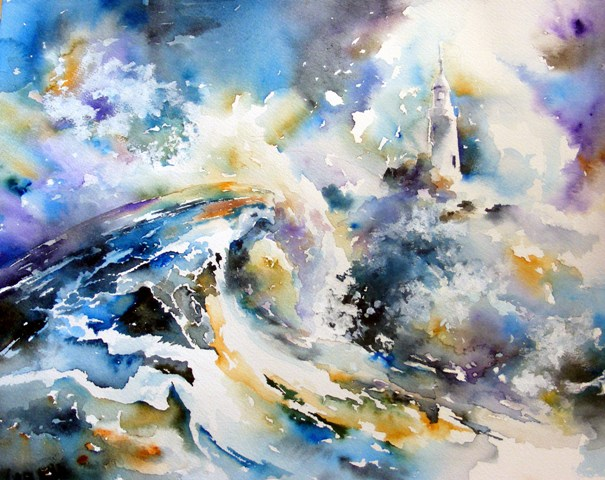Ocean wave - bright watercolor painting, sea, lighthouse