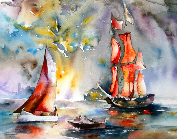 One more about love - bright watercolor, light, ships, fireworks