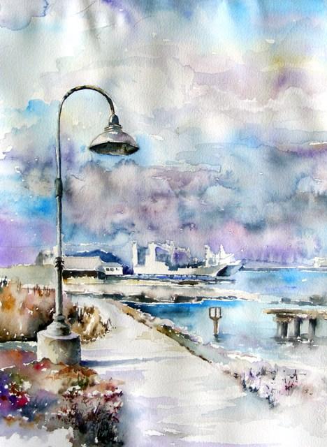 «Сан-Франциско, порт» – городской пейзаж акварелью