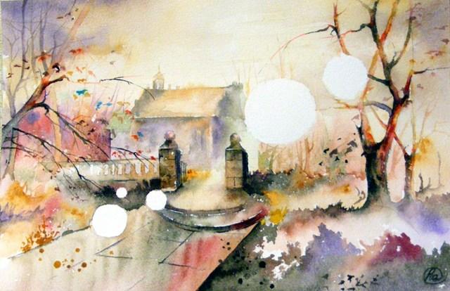 «Время» – осень, дом, пейзаж акварелью