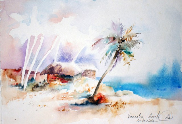 Fisherman house - bright watercolor landscape, sea, ocean, painting, lightness