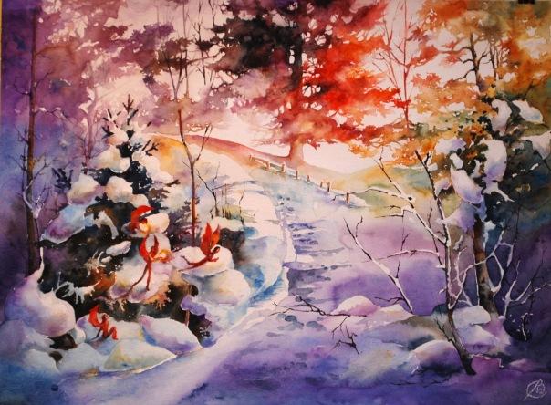 «Рождественское утро» – яркий зимний пейзаж акварелью