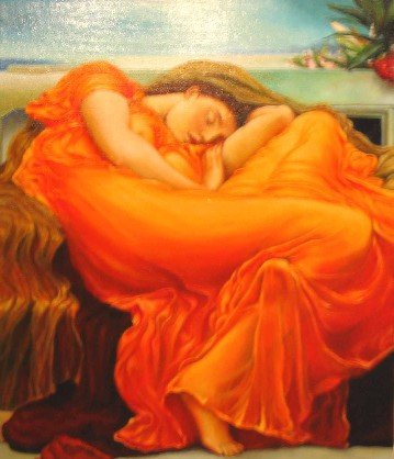 F.Leighton Flaming June, oil painting, woman, rest, orange